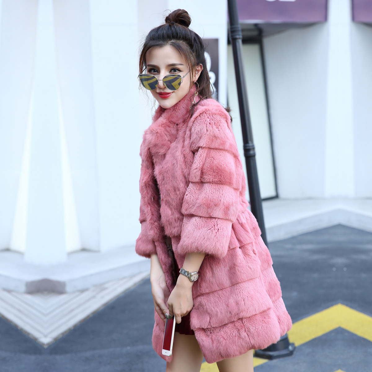 Fashion Wave Cut Whole Skin Genuine Rabbit Fur Winter Coat Women Stand Collar 3/4 Sleeve Real Fur Coats And Jackets 2019 New