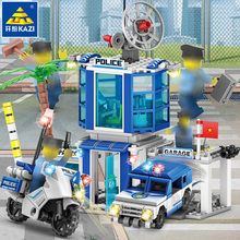 365pcs 4 in 1 Building Blocks Police Station Motorcycles Car Helicopter Model City Bricks Educational Toys For childrens gift