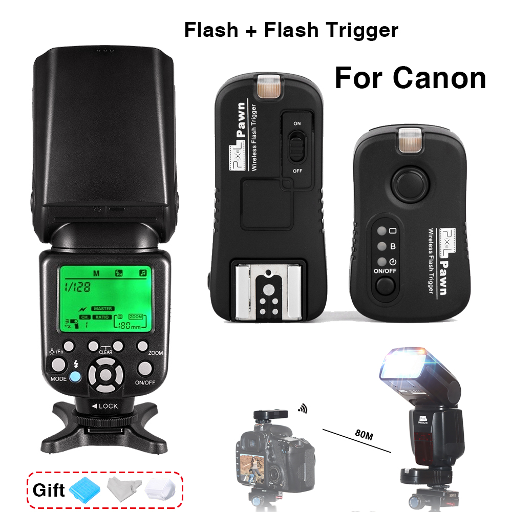 Triopo TR-586EX Wireless TTL Flash Speedlite & Pixel TF-361 Wireless Flash Trigger For Canon EOS 5D Mark II 5D3 7D 6D 70D 650D цена