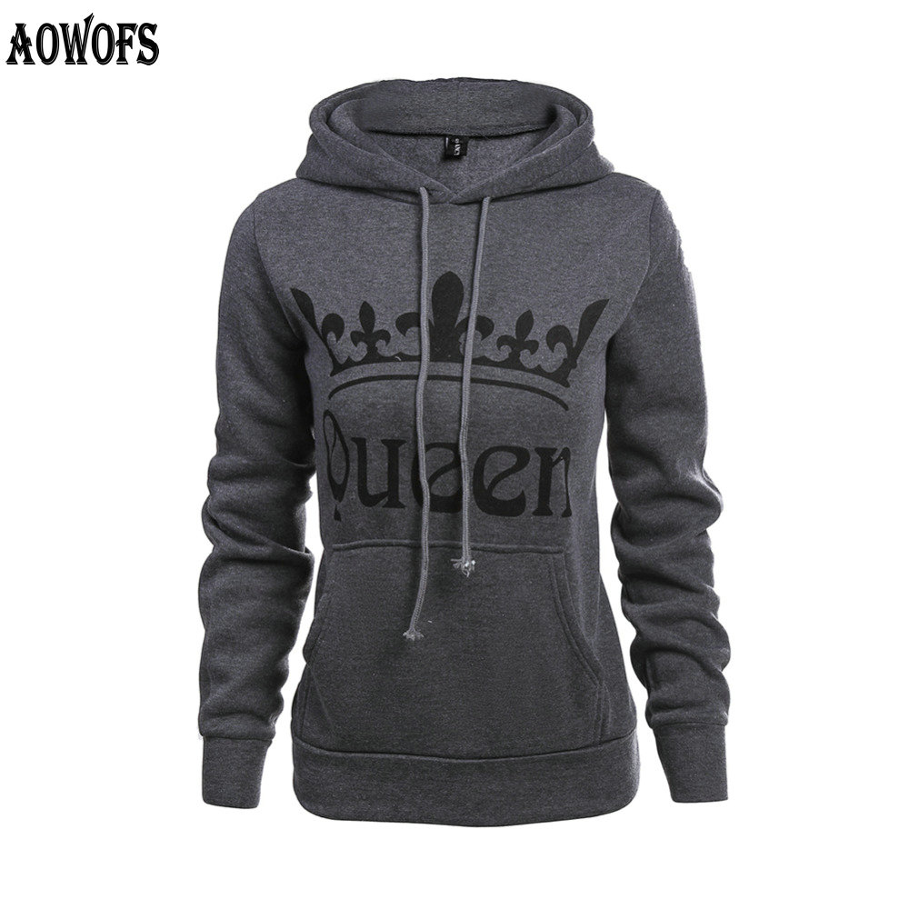 2018 KING QUEEN Letters Gray Sweatshirts printed hooded hoodies long sleeve hooded lovers sweatervest for women men M -XXL