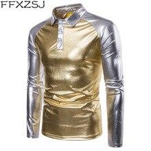 FFXZSJ Gold Silver Bright Polo Shirt Men Autumn Winter Brand Mens Long Sleeve Casual Male Shirts