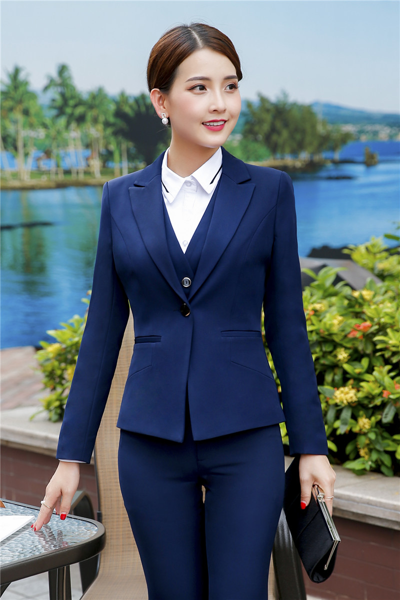 Formal Ladies Blue Blazer Women Pants Suits Professional Business Clothes Work Wear Office Uniform Styles Beautiful And Charming Suits & Sets Pant Suits