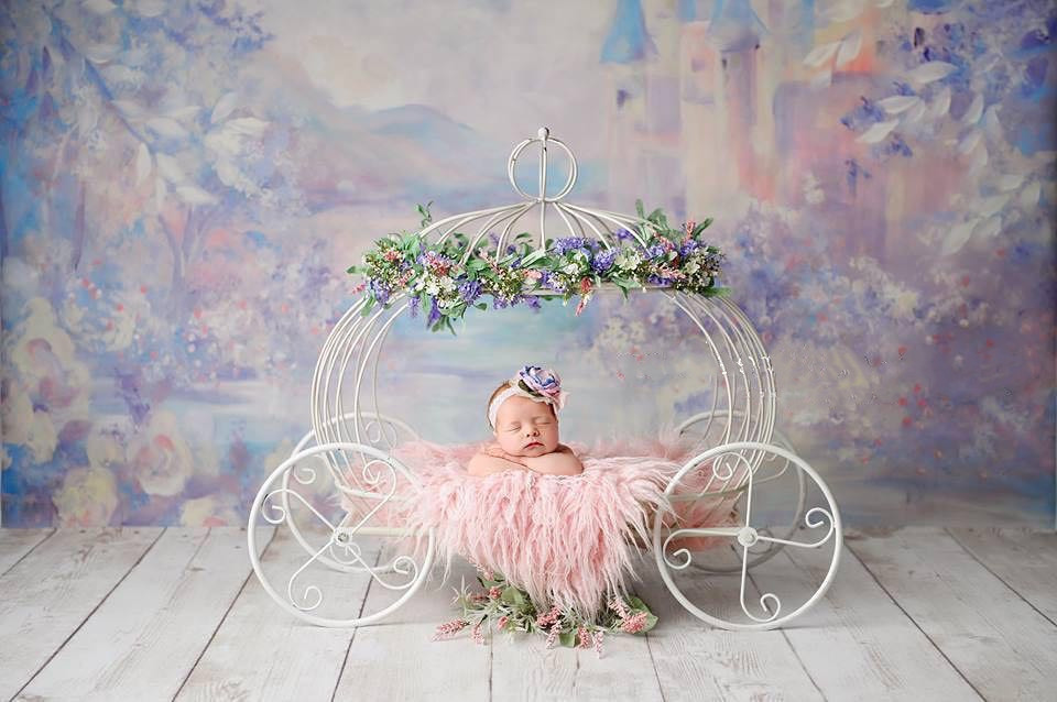 Newborn Photography Props Baby Studio Shot Little Bed Princess Bebe Props White Elegant Iron Art Pumpkin Cart