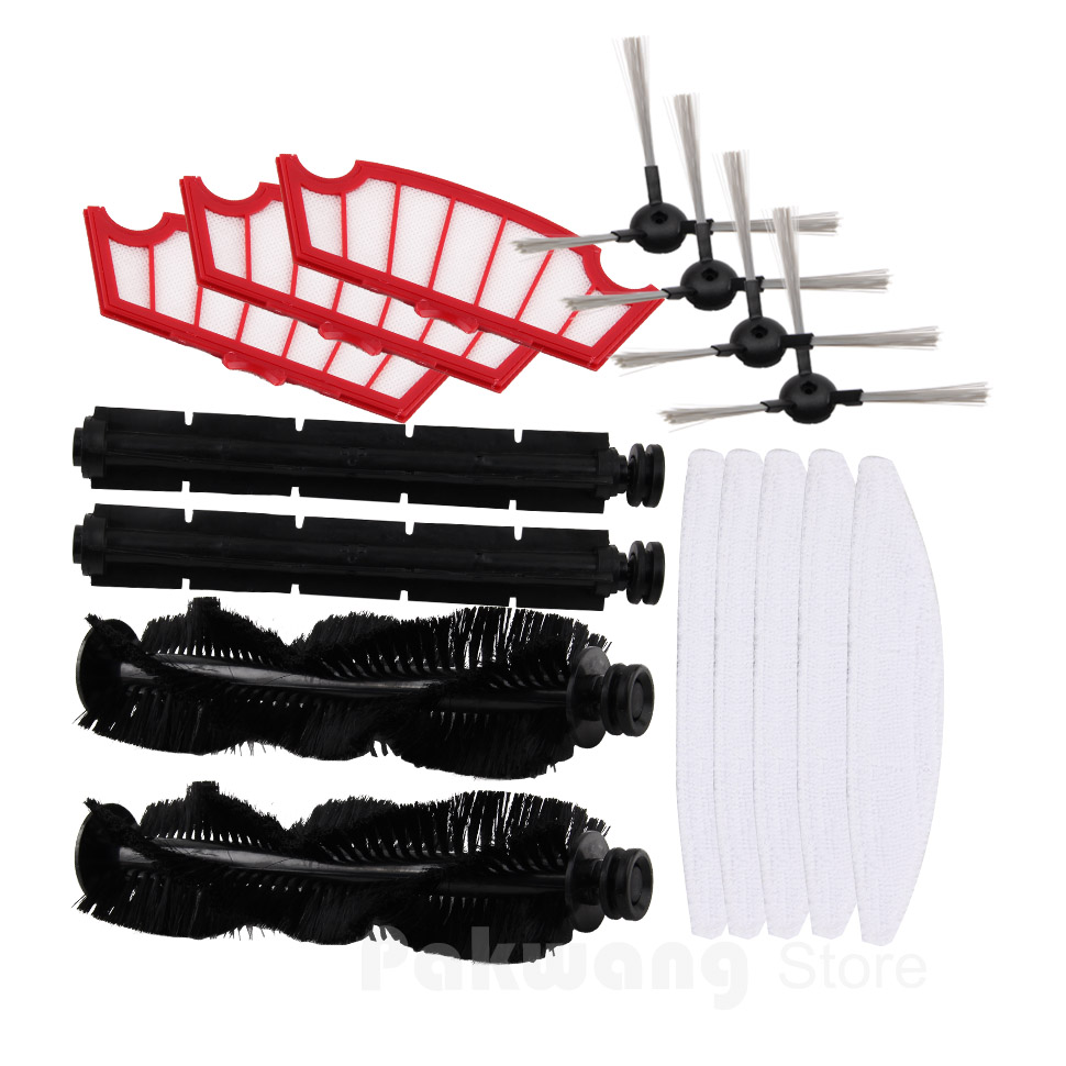XR210 Robot Vacuum Cleaner Spare Parts : Mop Filter Hair Brush Rubber Brush Side Brush 2016 robot vacuum cleaner a325 spare parts side brush 2 pcs rubber brush 1 pc hair brush 1 pc filter 2 pcs mop 3 pcs