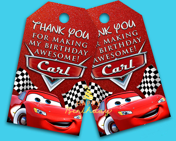 The Cars Favor Tags Thank You TagsCars Gift Favors Birthday Party Decorations