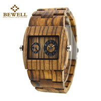 BEWELL Mens Designer Handmade Wood Wristwatches Full Natural Zabra Wooden Band Quartz Watch With In Carton