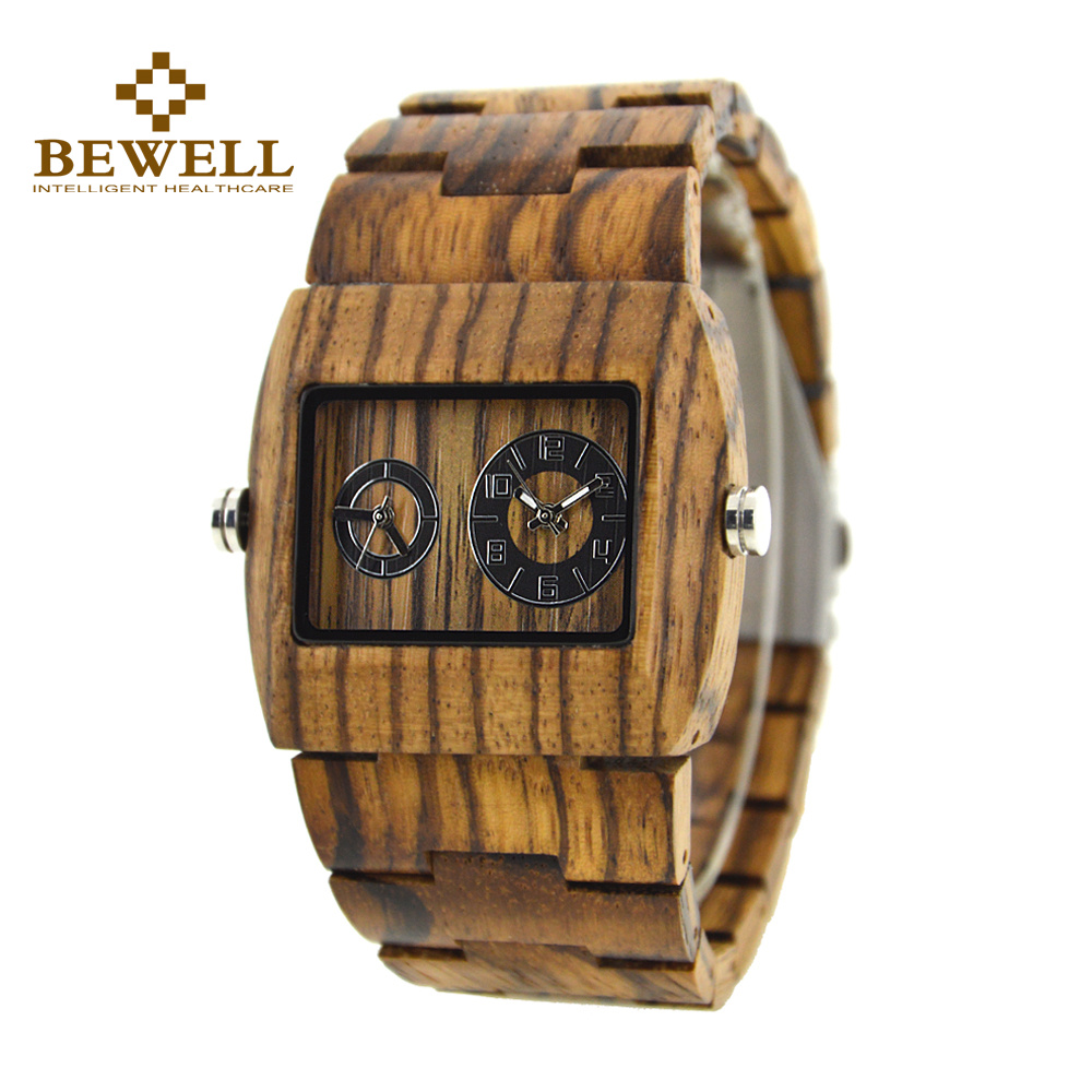BEWELL Mens Designer Handmade Wood Wristwatches Full Natural Zabra Wooden Band Quartz Watch With in Carton Box Relogio 021C