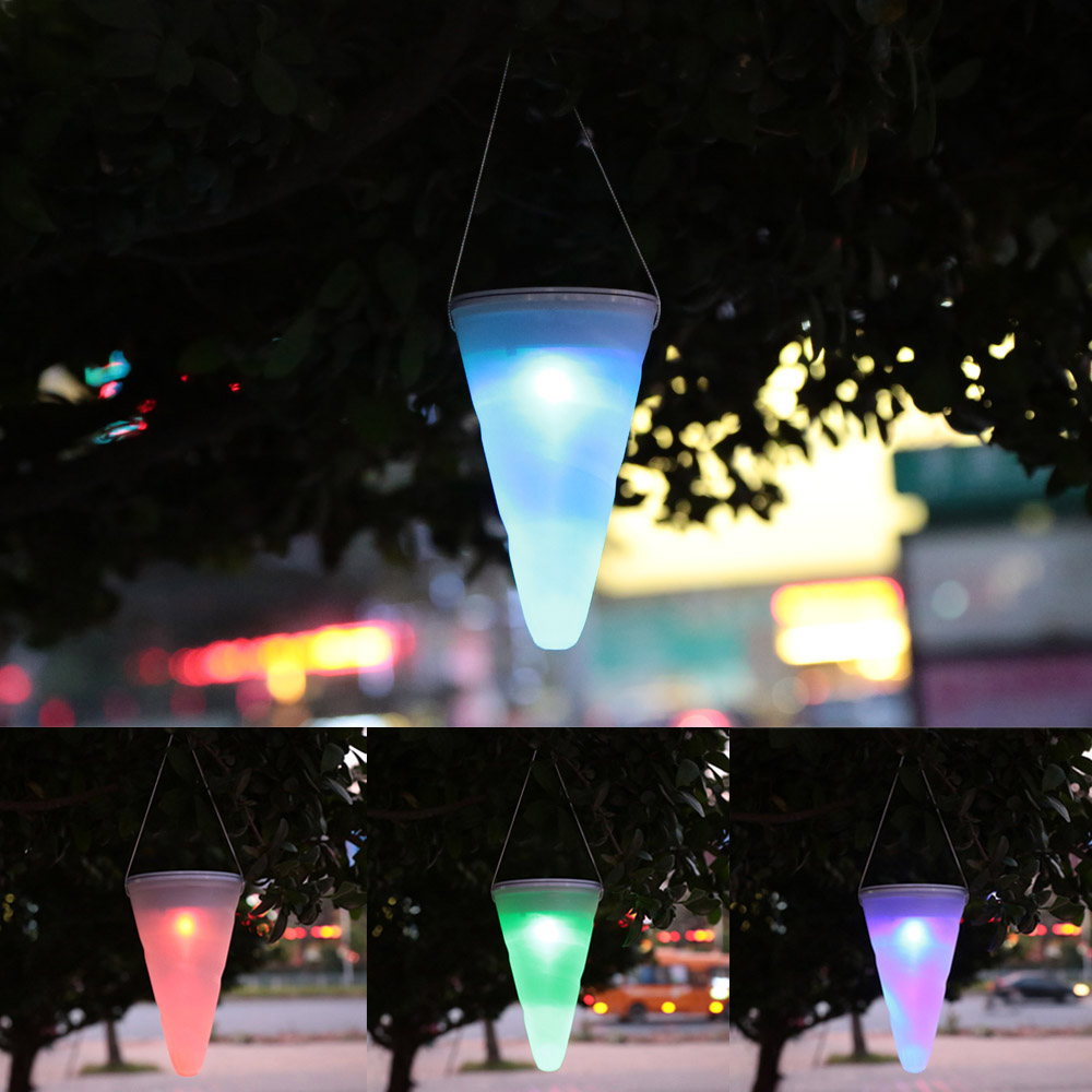 Solarmodul Solar Led Light Hanging Lights Color Changing Taper Balcony Garden Outdoor Chandelier
