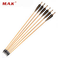 6/12/24pcs 30 inch Wooden Arrow With Black pine Arrow Shafts and Sheild Turkeys feather for Bow Archery Shooting