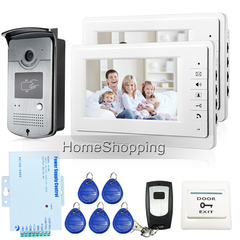 FREE SHIPPING New 7 inch Color Screen Video Door Phone Doorbell Intercom System 1 RFID Access Camera 2 White Monitors In Stock
