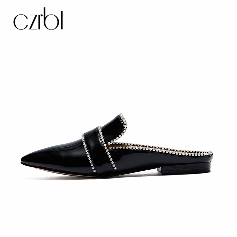 CZRBT Summer 2018 New Flats Shoes Patent Leather Single Shoes Pointed Toe Comfortable Mules Bordered England Style Women Shoes women in the summer of 2018 the new patent leather nude wedges pointed toe pump work shoes leisure women plus size 35 40 a23