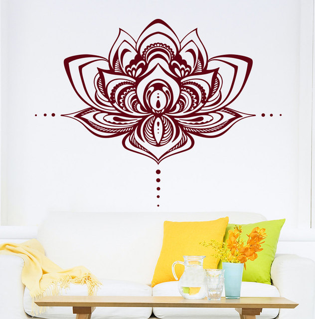 Q Home Decor: Lotus Flower Wall Decal Vinyl Stickers Namaste Bohemian