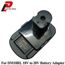 Adaptador de batería DM18RL para Dewalt, Milwaukee, 20V/18V, batería de ion de litio para Ryobi 18V P108 ABP1801