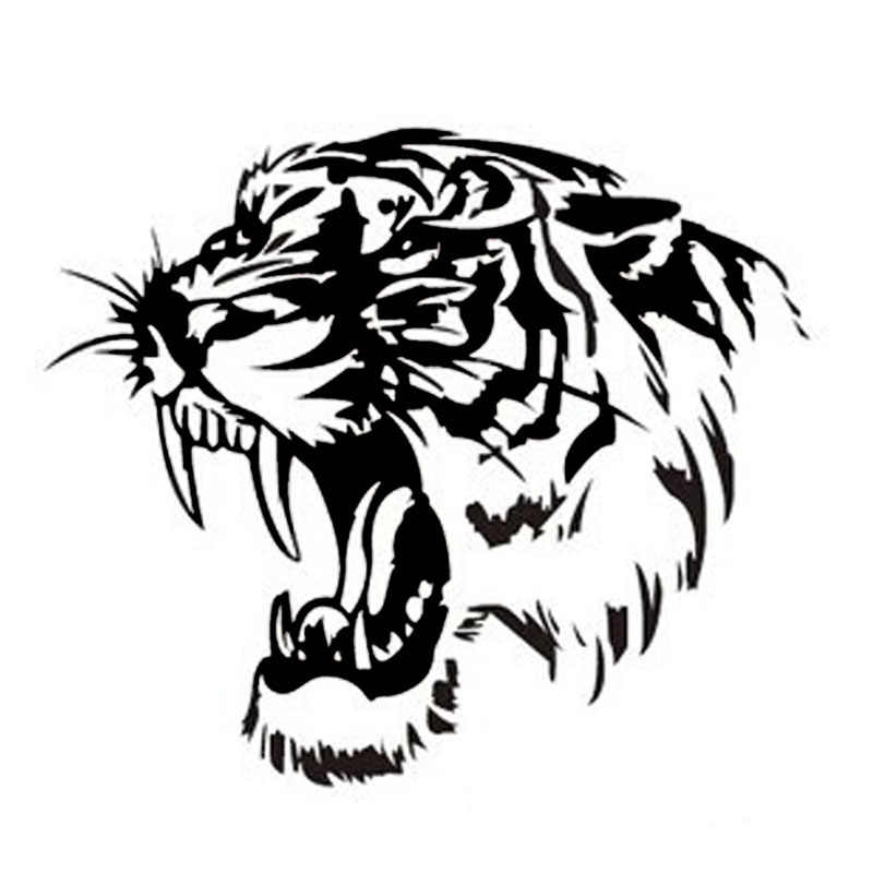 28*28 Cm Reflektif Mobil Stiker Decals Tiger Head Kap Mobil dan Motor Sisi Stiker Mobil Steller Hitam/Perak/Kuning CT-576