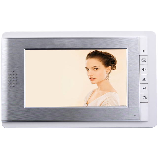 "FREE SHIPPING Wired 7"" 4-wire LCD Color Screen for Video Door phone Intercom System Monitor Unlock Intercom IN STOCK"