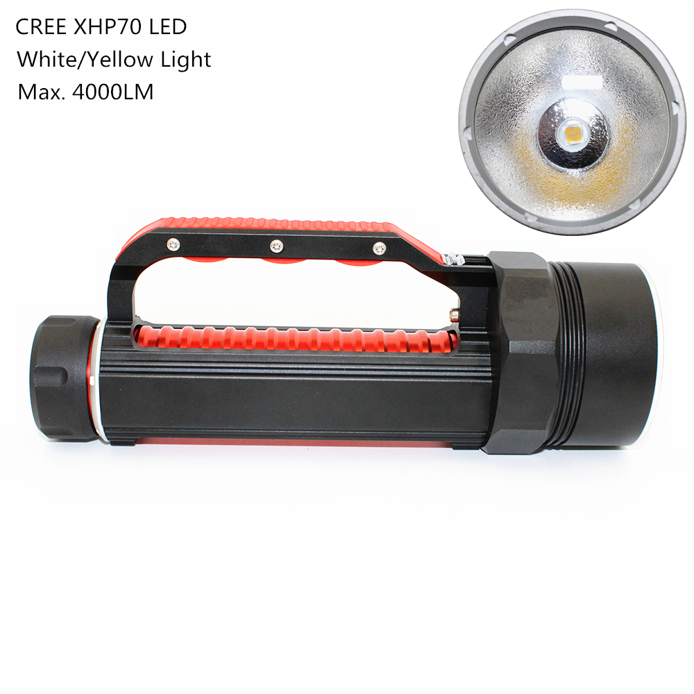 Uranusfire XHP70 LED Diving Flashlight 4000LM 32W White/Yellow Light Dive Torch Super Bright Lamp Use 2x 26650 battery 4000lm xhp70 cree led waterproof flashlight dive torch diving light super bright scuba hunting lamp 26650 battery eu charger