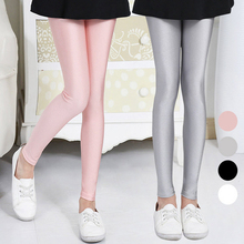 Kids Girls Shiny Skiny Pants 2018 New Arrival Spring Autumn Solid Leggings Pink Gray Children Fashion Clothing 2-16Y GL22