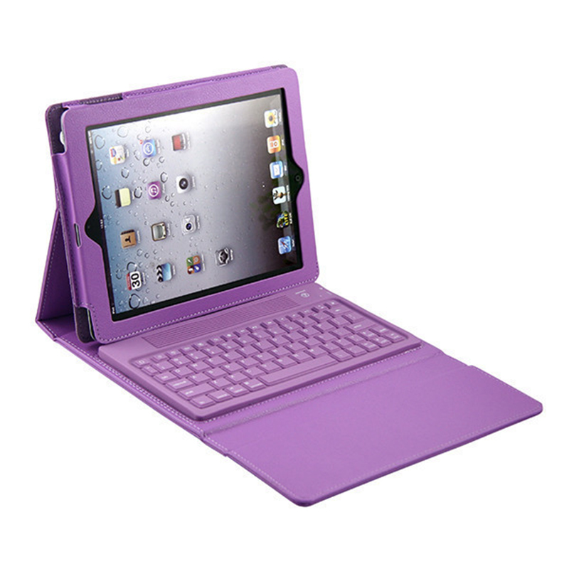 New Purple Black Red 9.7 Tablet PC Wireless Bluetooth Keyboard Stand Leather Case Cover Folding Stand For Apple iPad 2 3 4 Case folding leather stand case for new ipad 2nd 3rd 4th gen brown