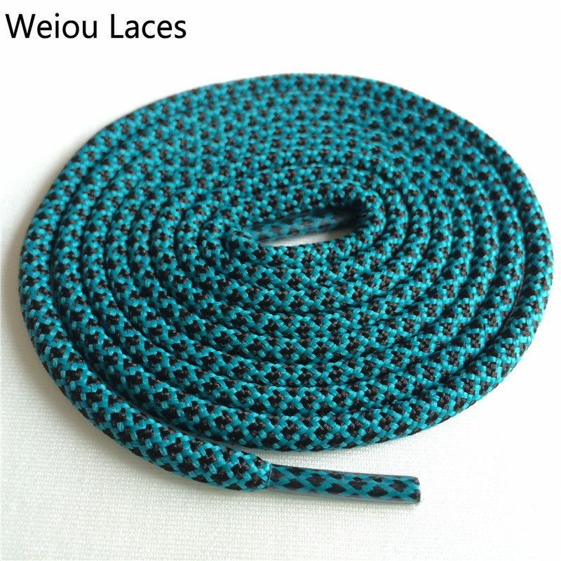 Weiou новые яркие цвета для пеших прогулок, двухцветные шнурки, сменные шнурки для обуви, круглые шнурки для баскетбола 750 - Цвет: 30Black Deep Green