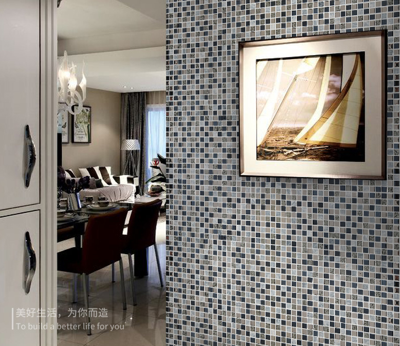 Auqa Blu argento tessere di mosaico di Vetro backsplash cucina ...