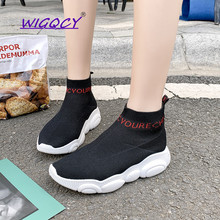 Knit Socks sneakers women 2019 new spring autumn shoes women Fashion Concise White Rubber sole Sports Casual ladies shoes mycolen 2018 spring autumn sports shoes korean leather women s new small white shoes new fashion cowhide shoes women casual