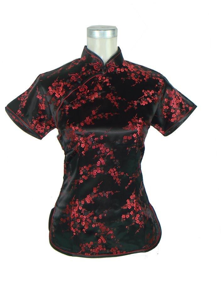 Zarif Siyah Kırmızı Çiçek Çin Tarzı Bluz Kadın Yaz Saten Gömlek Tops Vintage Mandarin Yaka Gömlek Sml XL XXL WS008