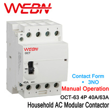 OCT-63 Series 3P 40A/63A Manual Operation AC Household Modular Contactor 220V/230V 50/60Hz Contact 3NO Din Rail Contactor