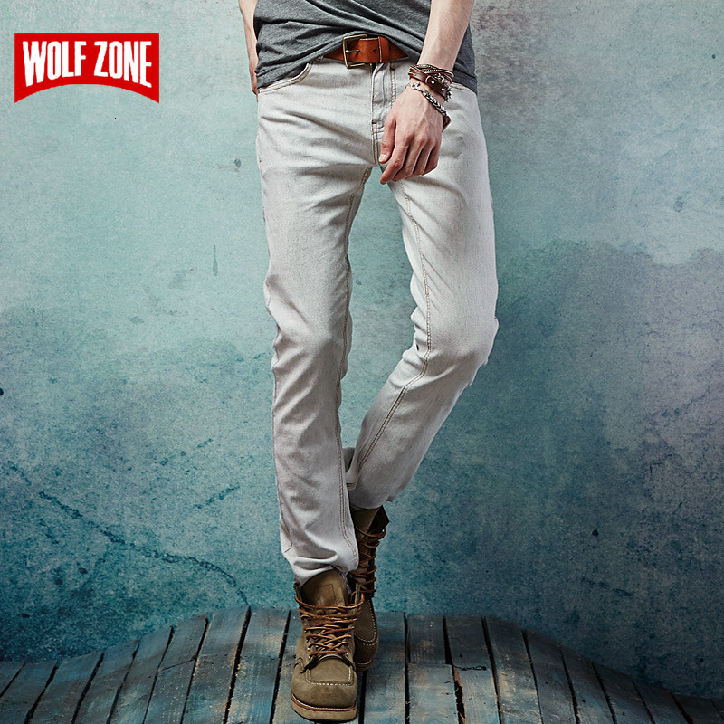 New 2017 Fashion Men Elastic Jeans Men's Casual Designer Denim Famous Brand Pants Slim Straight Fit High Quality Full Length