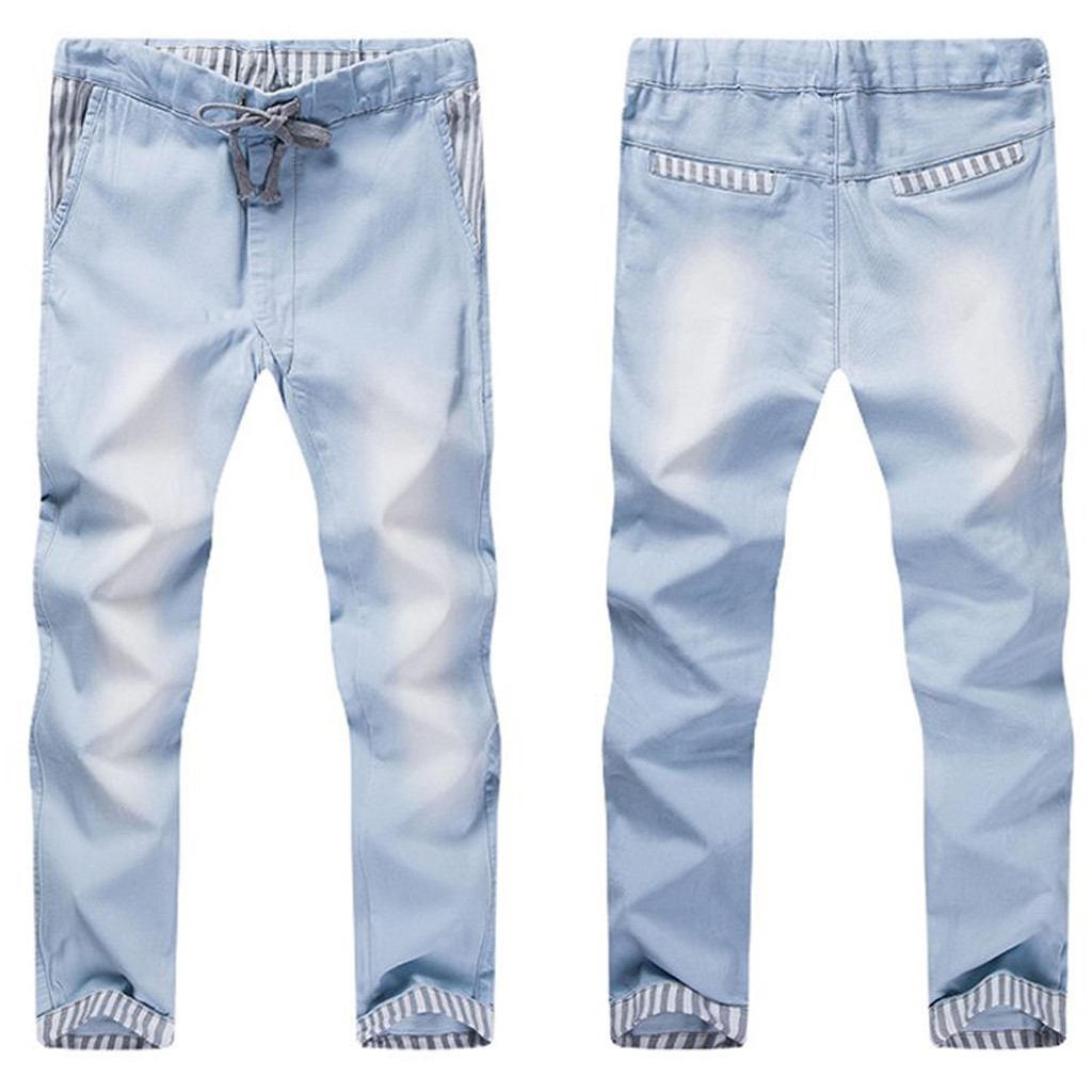 Summer New Fashion Fashion Casual Vintage Elastic Wash Disstressed Denim Slim Trousers Jeans Jeans Sweatpant Cotton Z0315