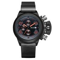 BOLISI Chronograph Watch Mens Quartz Leather Strap Sport Wristwatch Of Red Needle