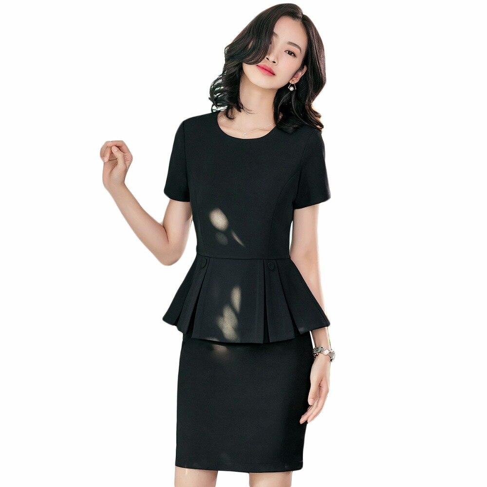 Hot Sale 2018 New Elegant Women Skirt Suits Spring Summer Formal