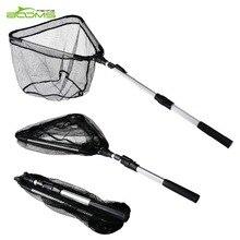 Booms Fishing N4  Folded Fly Fishing Landing Net with Telescopic Handle, Compact Folding Net Nylon Mesh 71-193cm Fishing Tackle