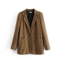ZTK 2019 woman blazer long sleeve pocket ladies single button spring coat OL casual brown Mujer Blazer European Outerwear