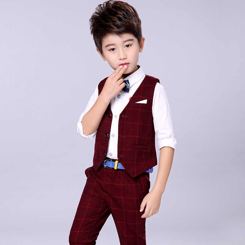 76714b718 ... Handsome Baby Boys Gentleman Suit Children's Formal Clothing Set Kids  Wedding Party Clothes 3-12Y ...