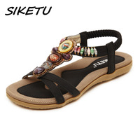SIKETU Summer New Women S Flat Sandals Shoes Woman Boho Bohemia Beach Sandals Ethnic String Strap
