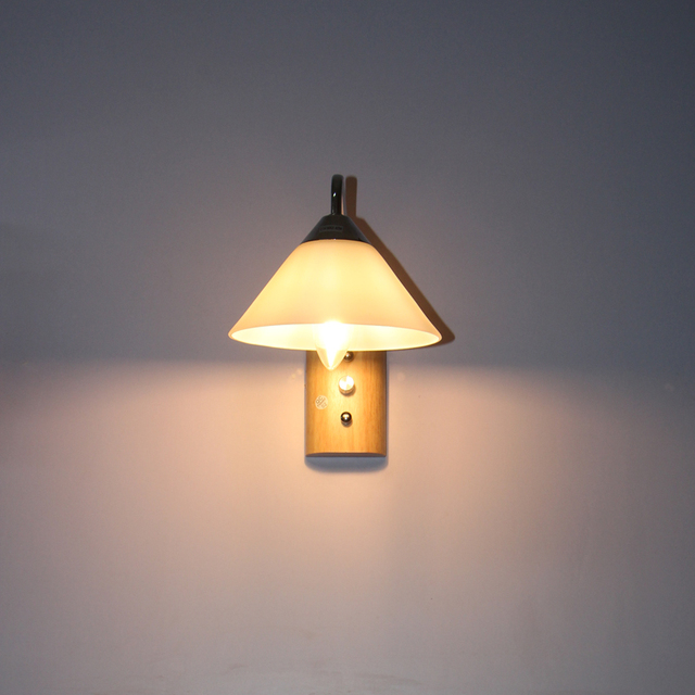 Indoor wall mounted led wall sconce E14 socket, built in switch wood ...