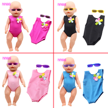18 Inch American Girl Doll Bikini + Sunglasses summer Swimming Suit With Hat also fit for 43cm Baby born zapf dolls