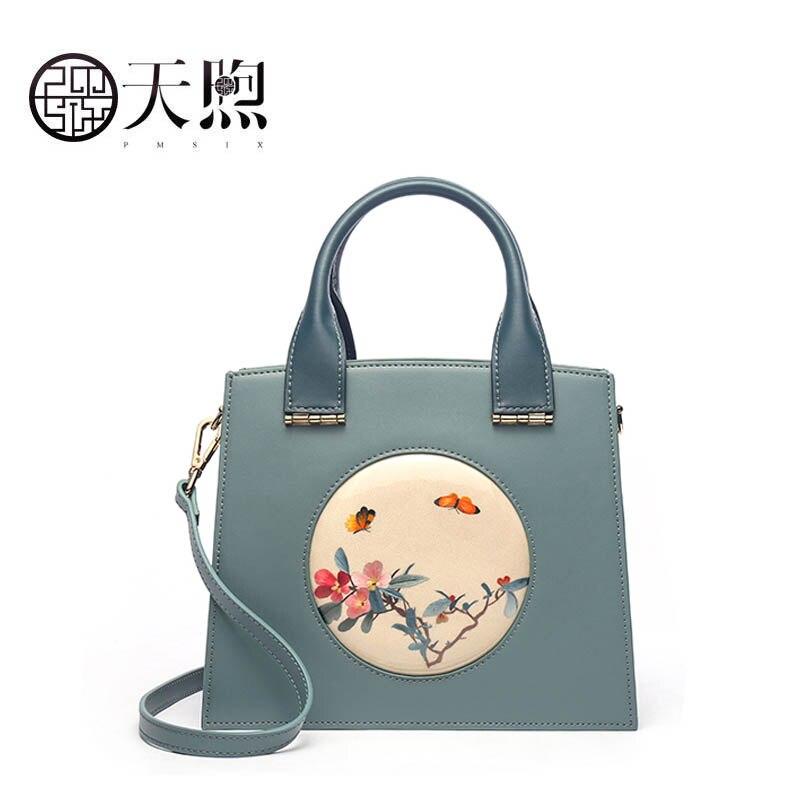 Luxus Leder Frauen Schulter Rindsleder blue Hand Taschen green Red Umhängetaschen Stickerei Mode Pmsix 2019 Designer Neue tqFxn8R