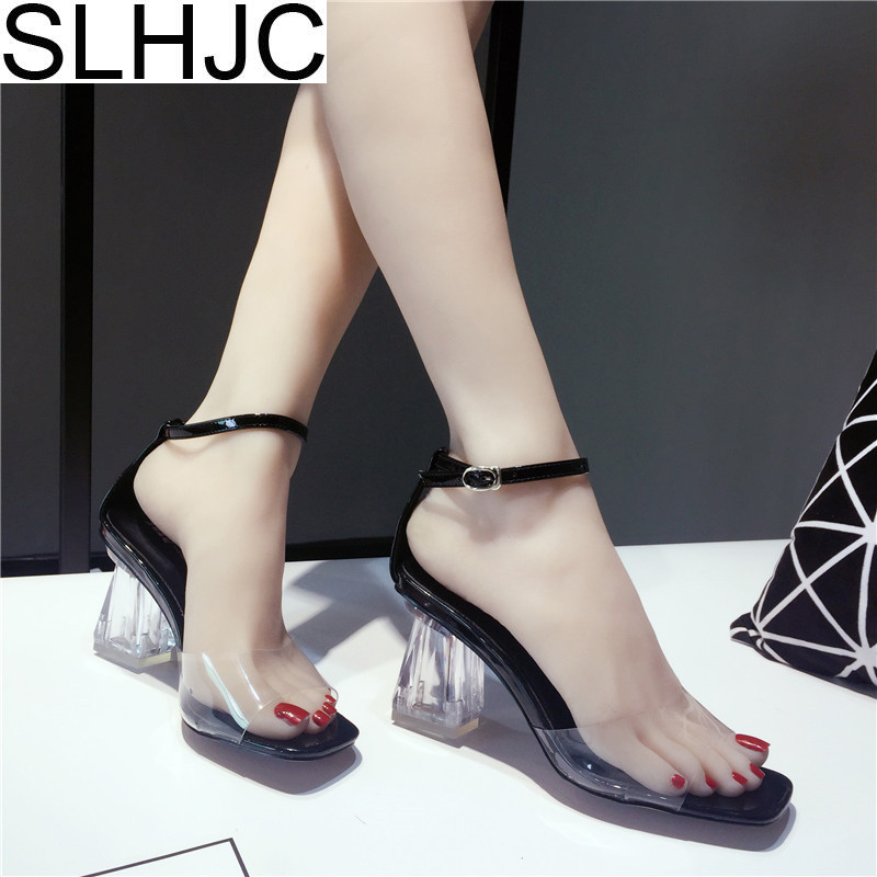 SLHJC 2018 Summer Sandals Transparent High Heel Chunky Heels Pumps Open Toe Brief Sexy Women Shoes slhjc 2017 summer flats cool sandals flat heel pointed toe cutout jelly shoes durable wear sandals beach travel shopping shoes