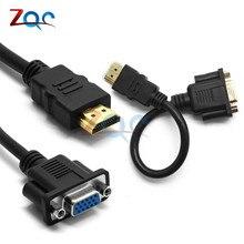 1080P HDMI macho a VGA HD-15 hembra Video convertidor adaptador de cable para HDTV PC AS conector