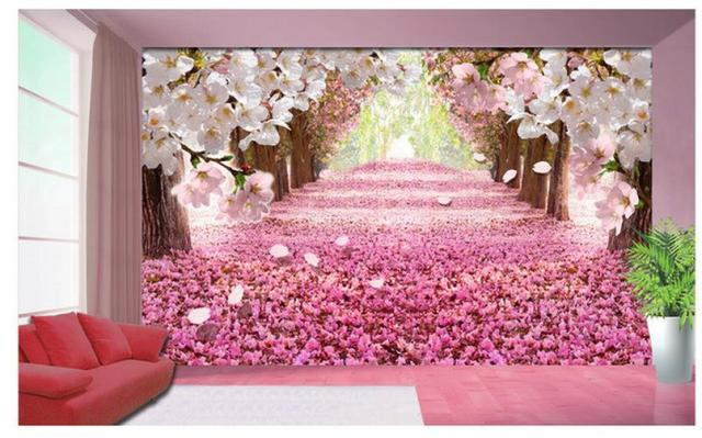 Garden Sakura Boulevard Flowers 3d Background Wall Mural Painting