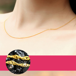 Image 2 - QA 24K Pure Gold Necklace Real AU 999 Solid Gold Chain Firm Nice Smooth Upscale Trendy Classic  Fine Jewelry Hot Sell New 2020