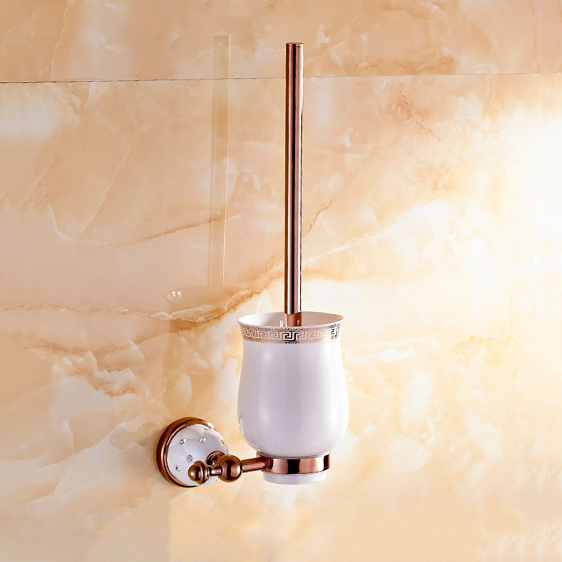 Diamond Toilet Brush Holder With Ceramic Cup Classic Golden Toilet Brush Holders Wall Mounted Brass Finish Bathroom Accessories