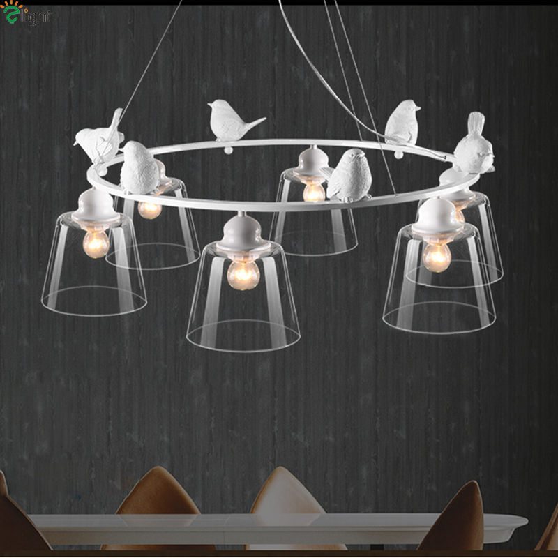 Nordic Simple Resin Birds Led Chandeliers Lustre Glass Dining Room Led Chandelier Lighting Bedroom Led Hanging Lights FixturesNordic Simple Resin Birds Led Chandeliers Lustre Glass Dining Room Led Chandelier Lighting Bedroom Led Hanging Lights Fixtures