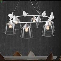 Nordic Simple Resin Birds Led Chandeliers Lustre Glass Dining Room Led Chandelier Lighting Bedroom Led Hanging Lights Fixtures