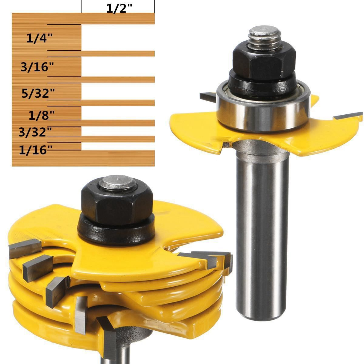 Best Price 2Pcs Slot Cutter 3 Wing Router Bit 1/2 &1/4 Inch Shank Adjustable Woodworking Tool