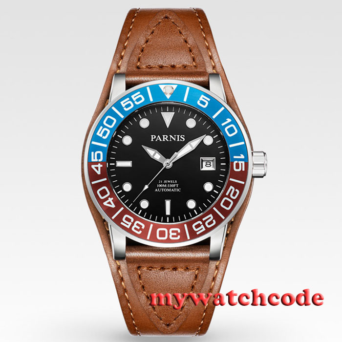 42mm Parnis black dial Sapphire glass leather Miyota automatic mens watch P429 42mm parnis black dial multifunction sapphire glass black leather strap 26 jewels miyota 9100 automatic mens watch