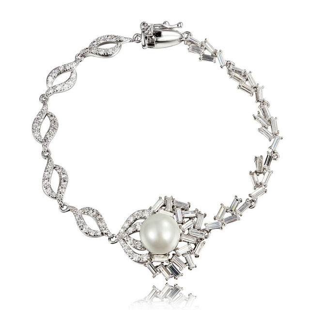 Hot Bracelet Fashion Link Chain Plated with Beads simulated Pearl Bracelets love simple pulseiras Women Jewelry