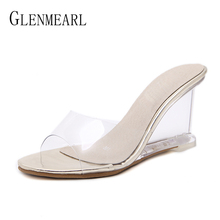 купить Brand Women Slippers Summer Shoes High Heels Shoes Woman  PVC Transparent Wedge Women Shoes Slippers Open Toe Female Shoes DE по цене 1318.6 рублей