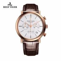 Риф Тигр/RT ультра тонкий бизнес часы для мужчин розовое золото кожаный ремешок Кварцевые хронограф часы с датой RGA162